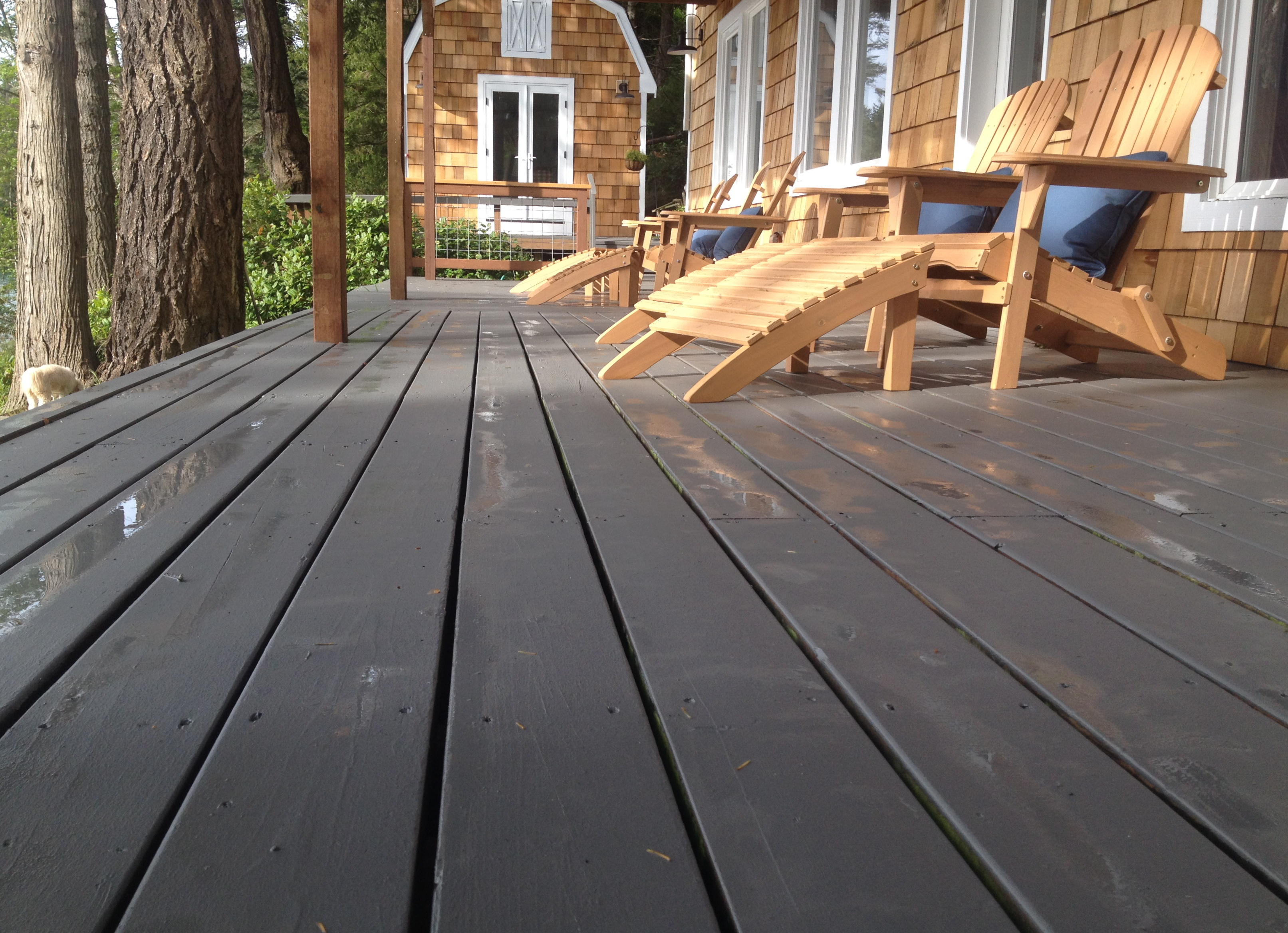 The color gray a little elbow room this weekend we painted 800 sq ft of decking around our island home what had been a dark brown red paint over cedar became a lighter gray and the house baanklon Images